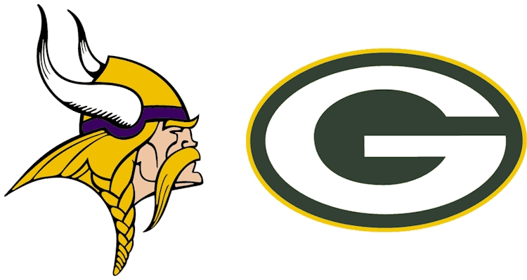 Graphics of the Vikings and Packers logos
