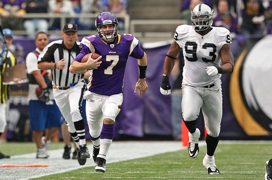 Photo of Christian Ponder Running For A Long Gain Against The Oakland Raiders