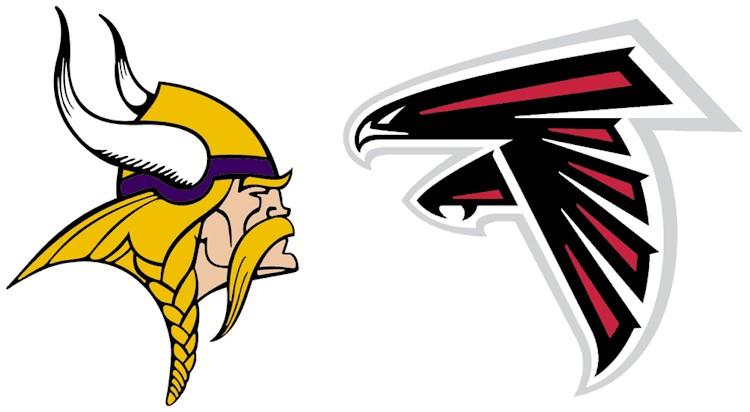 Vikings and Falcons logos facing off