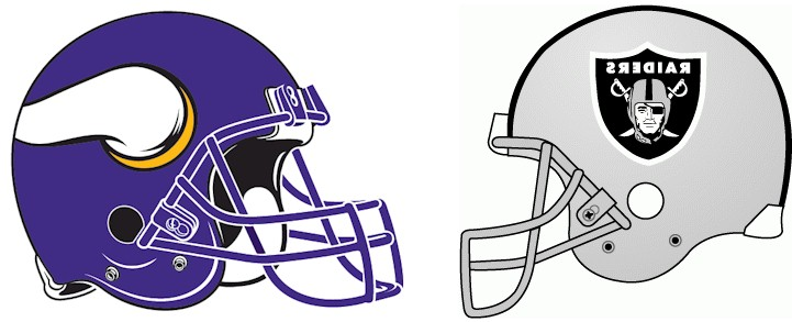Minnesota Vikings Vs. Oakland Raiders Helmets