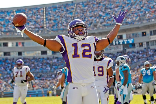 Photo of Percy Harvin celebrating a TD against the Carolina Panthers