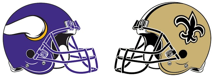 Minnesota Vikings Vs. New Orleans Saints Helmets