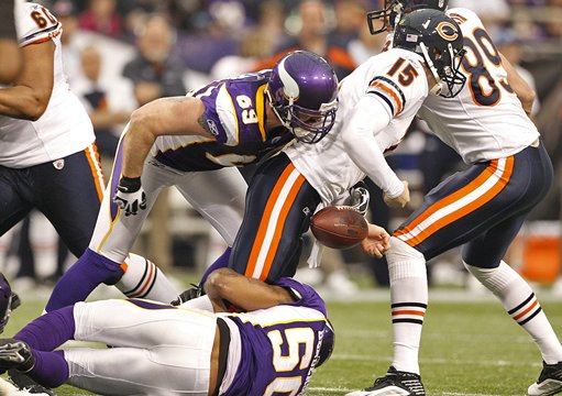 Jared Allen forces a fumble of Josh McCown
