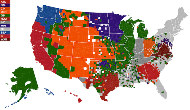 Map - NFL Fan Allegiance During The Playoffs