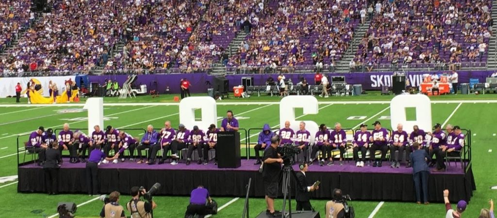 Photo: 1969 Minnesota Vikings 50th Anniversary Halftime Celebration