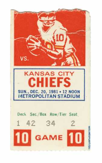 Ticket stub for Vikings vs Chiefs last game at Metropolitan Stadium
