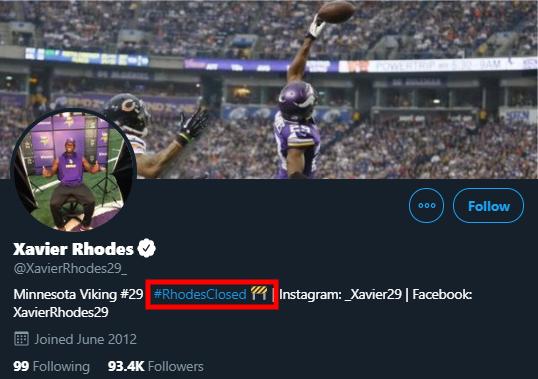 Screenshot: Xavier Rhodes Twitter bio