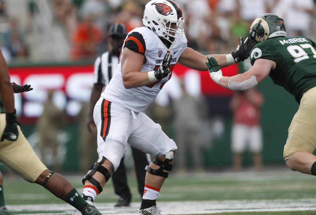 Photo of Oregon State tackle Blake Brandel